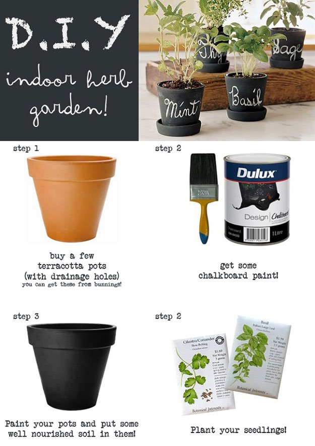chalk paint herbal pots